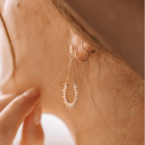Boucles d'oreilles tendances plaqué or rayons de soleil
