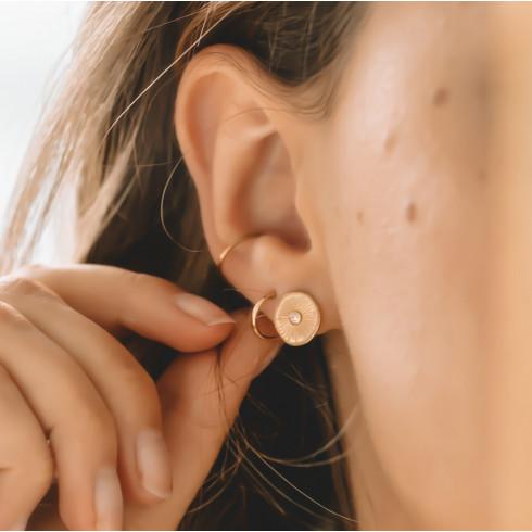 Boucles d'oreilles plaqué or puces zirconium