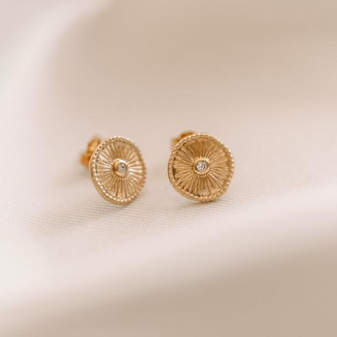 Boucles d'oreilles en plaqué or puces sertie d'une petite pierre de zirconium