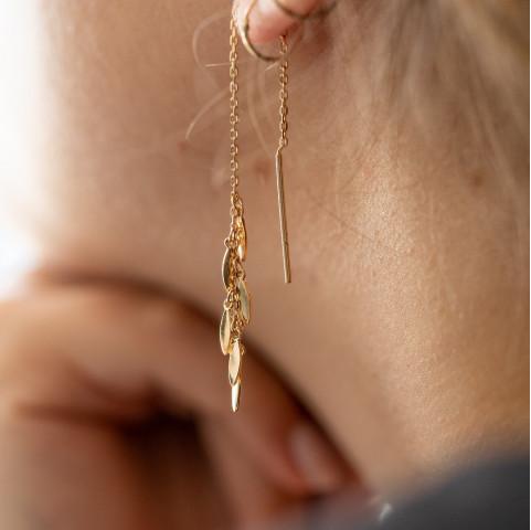 Boucles d'oreilles pendantes plaqué or avec pampilles longueur ajustable