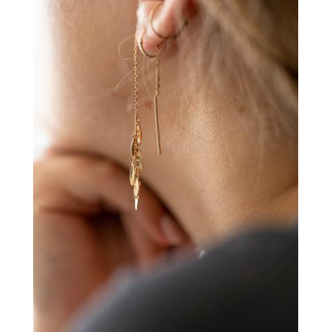 Boucles d'oreilles pendantes plaqué or pampilles