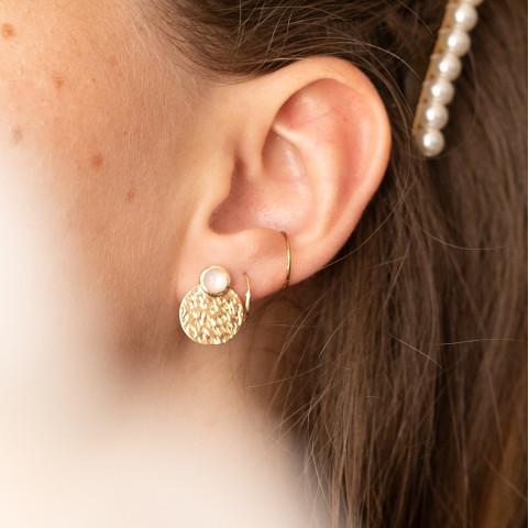 Boucles d'oreilles devant derrière pierre de lune plaqué or