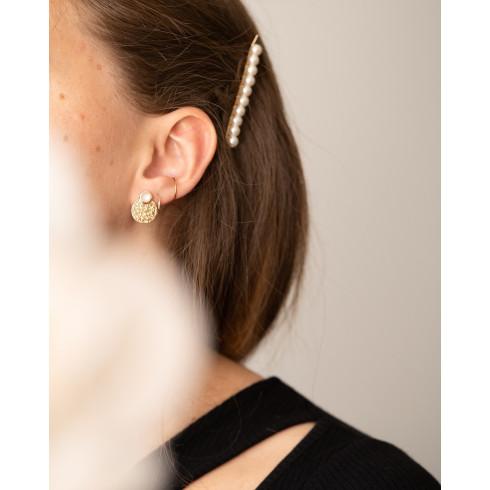 Boucles d'oreilles pierre de lune plaqué or