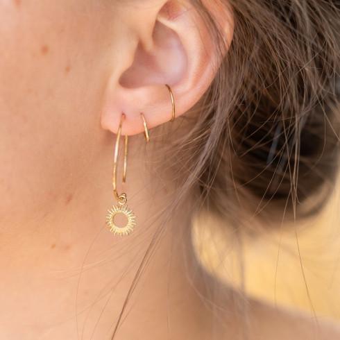Boucles d'oreilles créoles plaqué or soleil