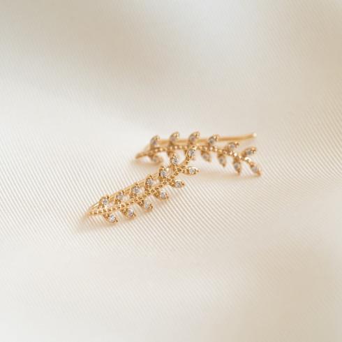 Boucles d'oreilles feuilles Célia plaqué or