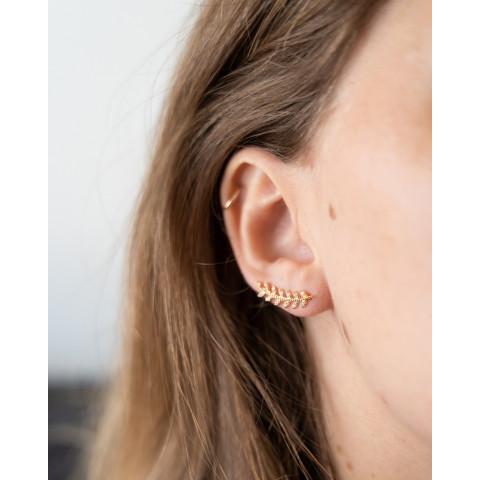 Boucles d'oreilles plaqué or épis de blé zirconium strass