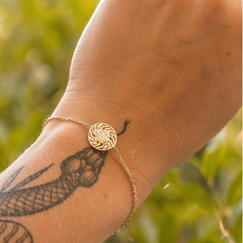 Bracelet femme plaqué or feuilles