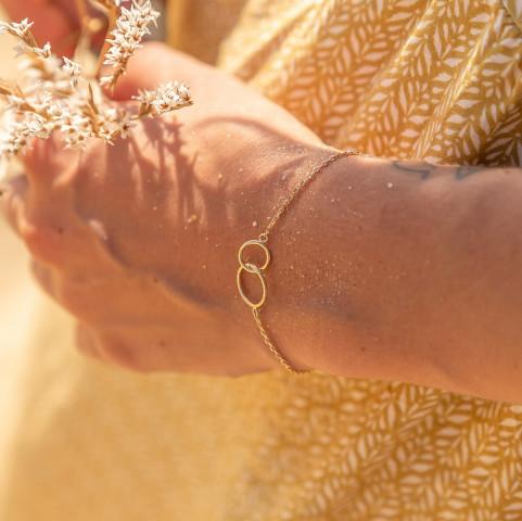 Bracelet plaqué or 2 anneaux cercles