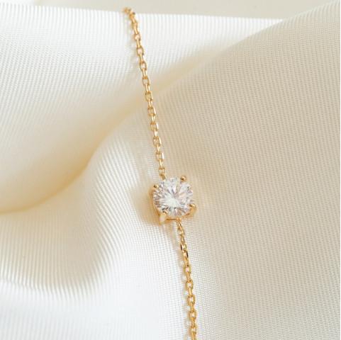 Bracelet fin plaqué or solitaire