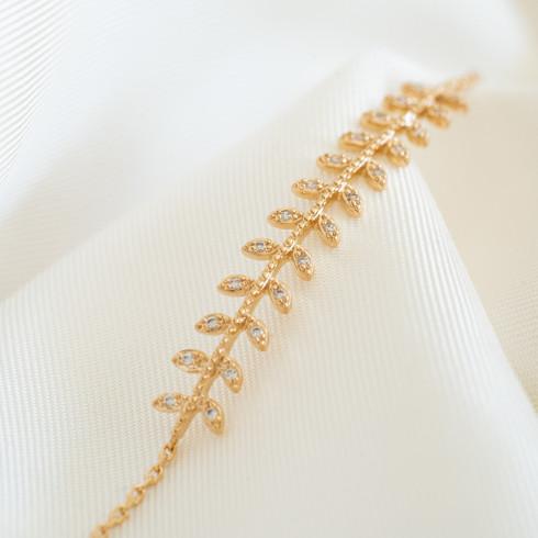 Bracelet fin plaqué or feuilles de laurier
