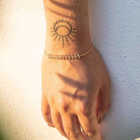 Bracelet femme plaqué or feuilles de laurier