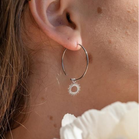 Boucles d'oreilles argent soleils pendants