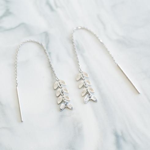Boucles d'oreilles en argent, pendants en forme d'épis de blé.