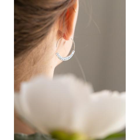 Boucles d'oreilles créoles tendances, martelées en argent rhodié
