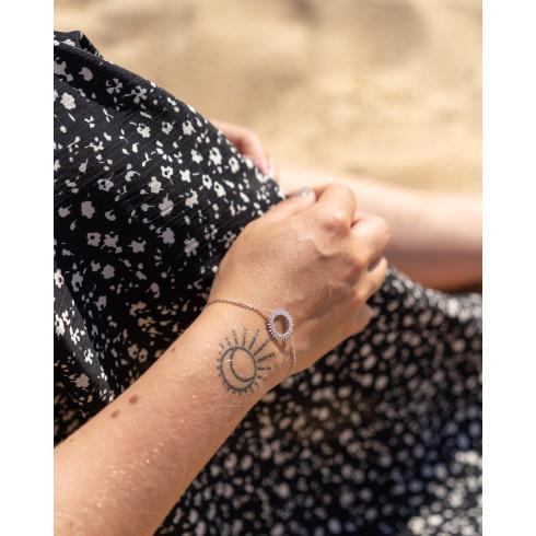 Bracelet fin femme tendance argent soleil