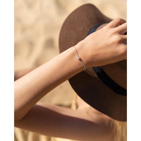Bracelet fin femme tendance argent strass en oxyde de zirconium
