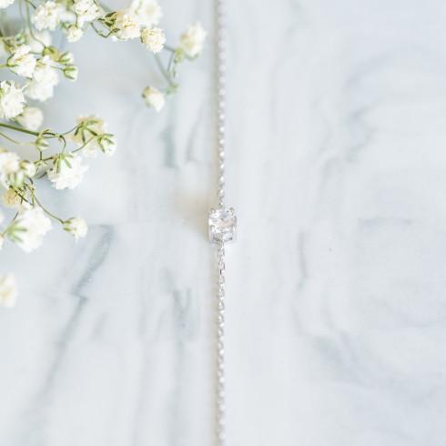 Bracelet fin argent rhodié avec strass en oxyde de zirconium