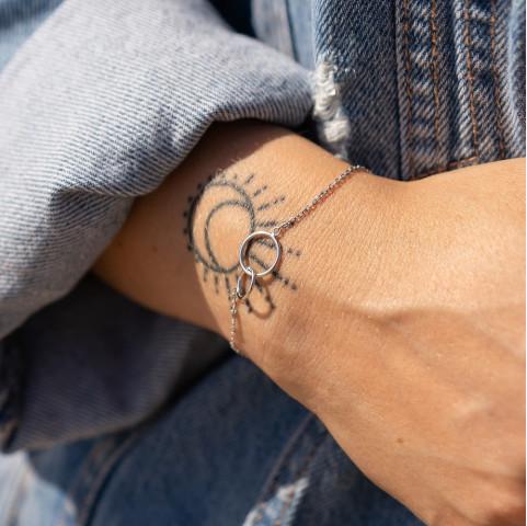 Bracelet fin argent 2 anneaux cercles