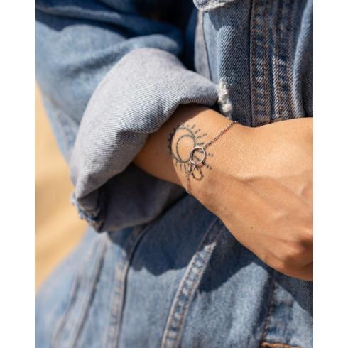 Bracelet femme argent 2 anneaux cercles