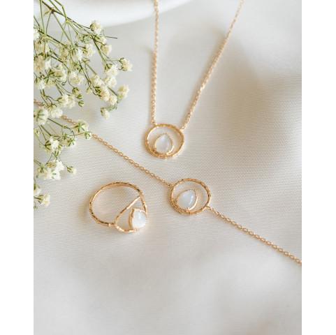 Parure bijoux pierre de lune plaqué or