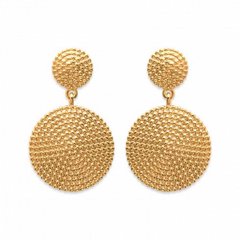 Boucles d'oreilles plaqué or pendantes cercles
