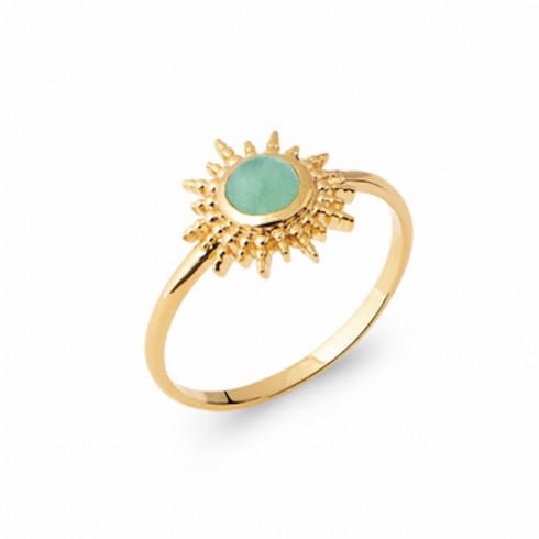 Bague soleil pierre verte Aventurine plaqué or