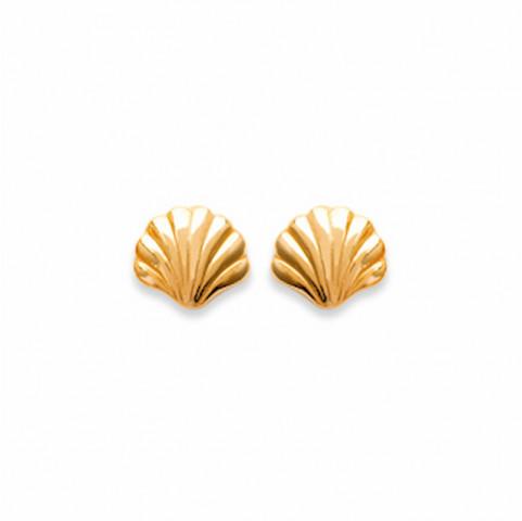 Boucles d'oreilles puces  plaqué or Coquillage