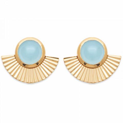 Boucles d'oreilles plaqué or éventail pierre précieuse agate bleue