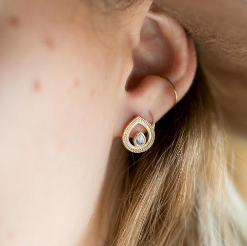 Boucles d'oreilles orientales plaqué or goutte