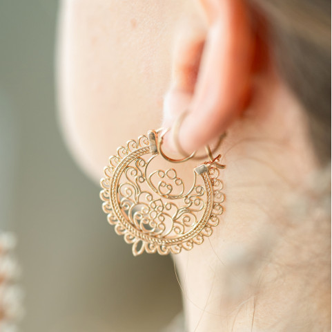 Boucles d'oreilles plaqué or orientales