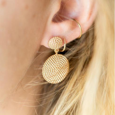 Boucles d'oreilles plaqué or pendantes createur tendance