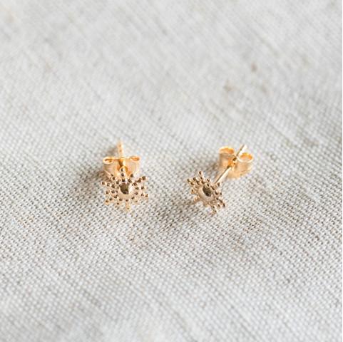 Boucles d'oreilles plaqué or puces soleil