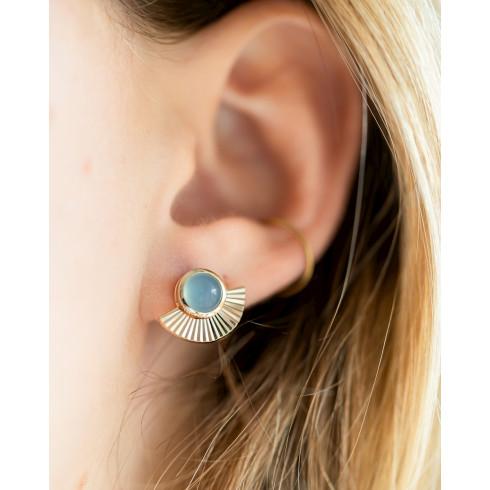 Boucles d'oreilles plaqué or pierre précieuse agate bleue