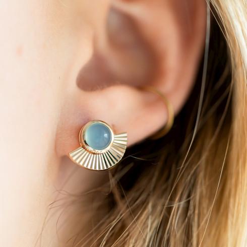 Boucles d'oreilles agate bleue