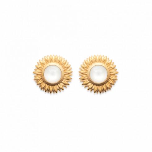 Boucles d'oreilles pierre de lune Fleur plaqué or