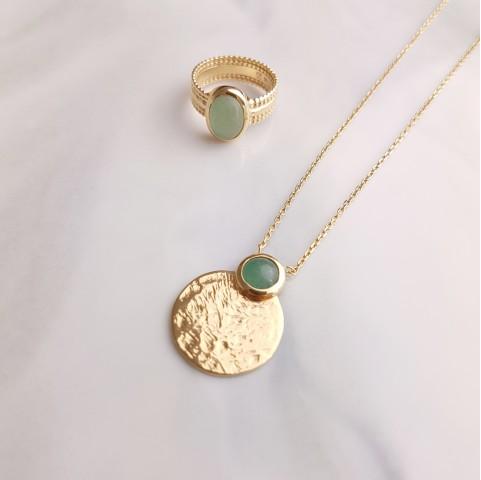 Parure bijoux plaqué or aventurine pierre précieuse