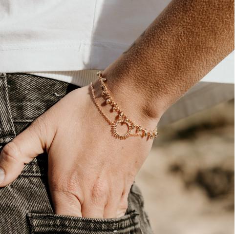 Bracelet plaqué or breloques soleil accumulation