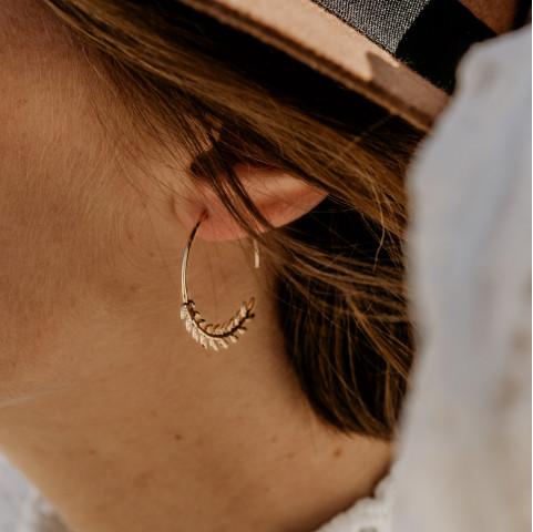 Boucles d'oreilles créoles plaqué or feuilles