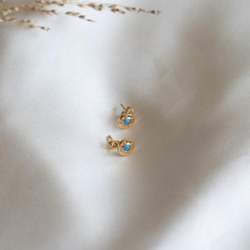 Petites boucles d'oreilles plaqué or turquoise