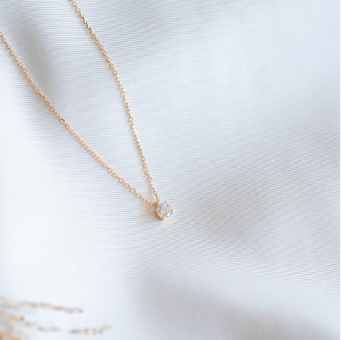 Collier plaqué or solitaire zirconium