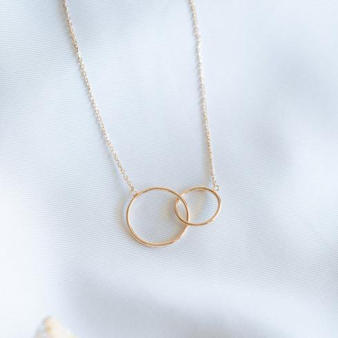 Collier femme plaqué or anneaux cercles