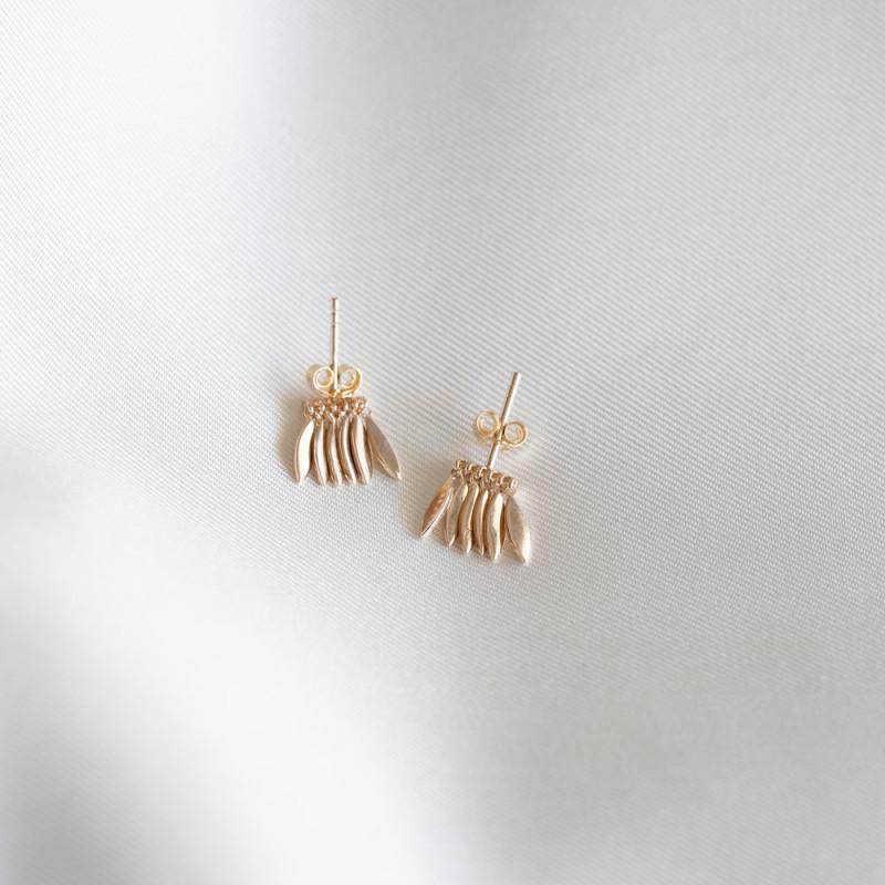Boucles d'oreilles puces plaqué or avec breloques