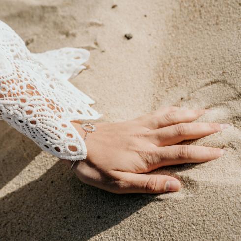 Bracelet argent avec rayons de soleil