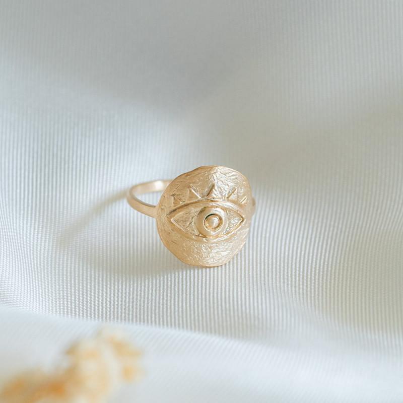 Bague plaqué or médaillon oeil antique