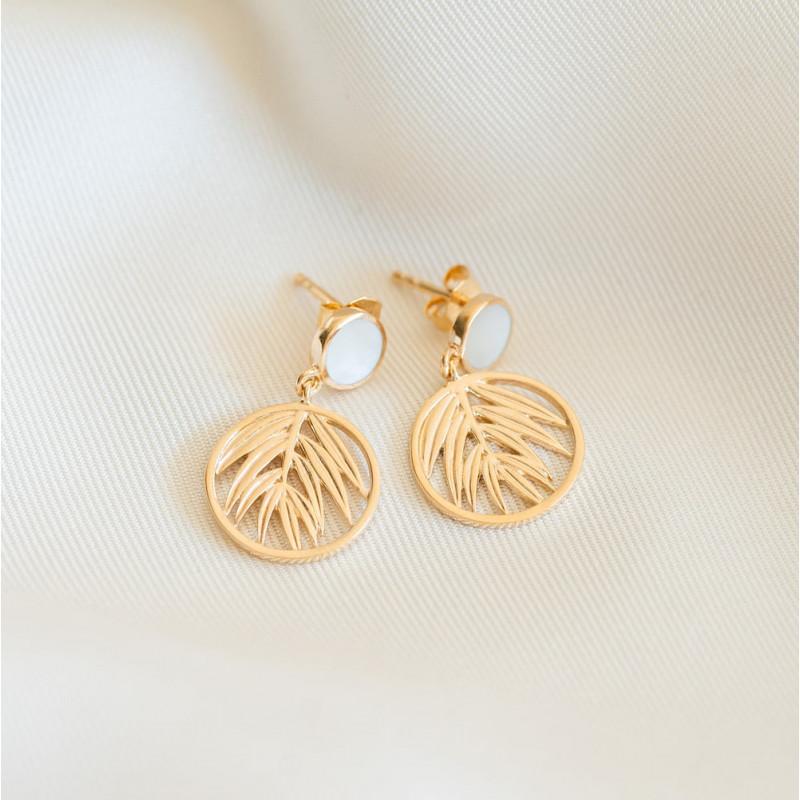 Boucles d'oreilles nacre plaqué or