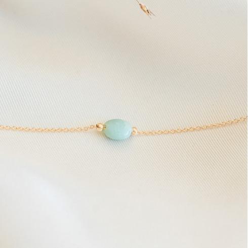 Bracelet plaqué or amazonite