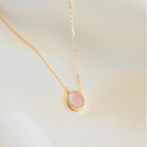 Collier plaqué or quartz rose