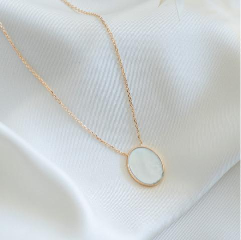 Collier médaillon ovale nacre plaqué or