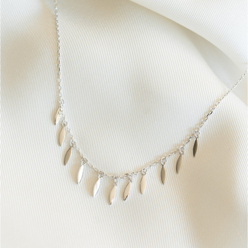 Collier fin argent pampilles
