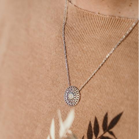 Collier argent pendentif mandala pierre de lune